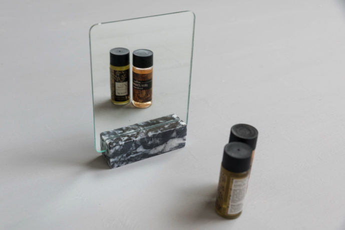 Black Square Mirror marble