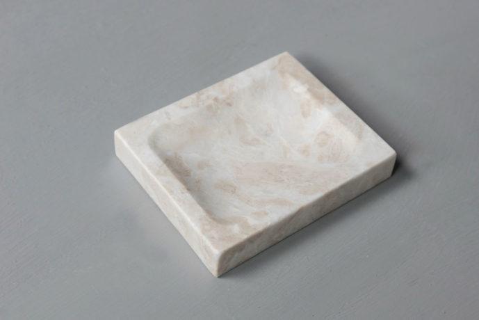 beige soap holder marble